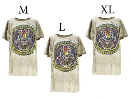 Batik T-Shirt Hand Fatima unisex beige Vintage Style
