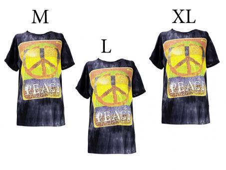 Batik T-Shirt Peace unisex schwarz Vintage Style