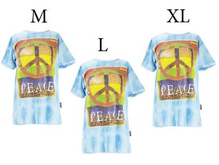 Batik T-Shirt Peace unisex blau Vintage Style