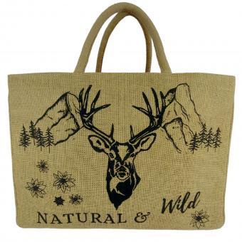 Domelo große Jute Einkaufskorb, 100% Vegane Einkaufstasche/ Handtasche
