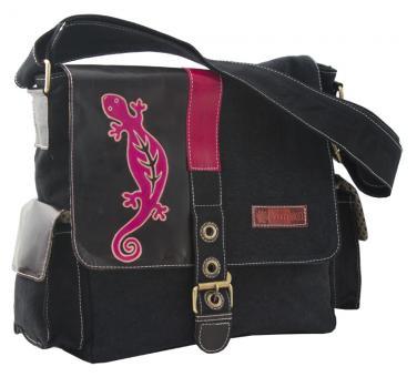 Sunsa schwarze Messenger Tasche Canvas Tasche Umhängetasche Leder