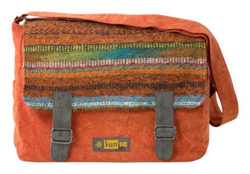 Sunsa rot orange Messenger Tasche Canvas Umhängetasche stone washed