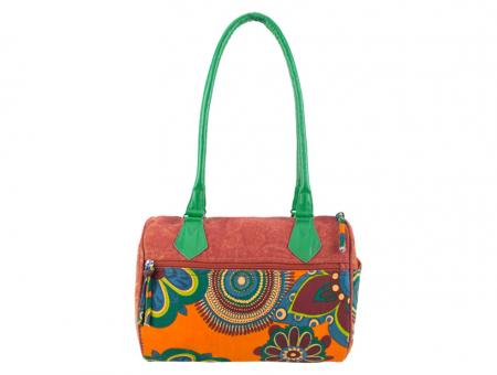 Sunsa orange Bowlingtasche Schultertasche Canvas stone washed