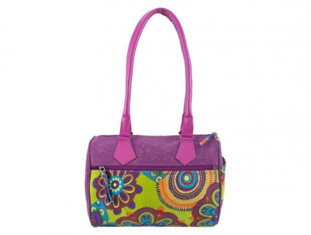 Sunsa lila Bowlingtasche Schultertasche Canvas stone washed
