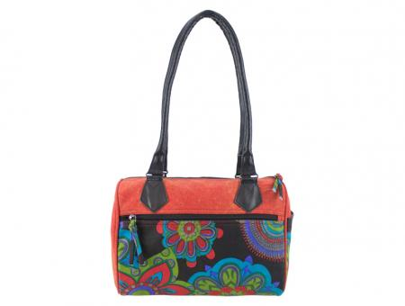 Sunsa rote Bowlingtasche Schultertasche Canvas stone washed