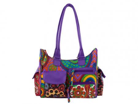 Sunsa lila Canvas Handtasche Schultertasche