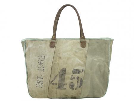 Sunsa Vintage Tasche Handtasche stone washed Canvas Lederhenkel