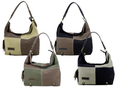 Sunsa Schultertasche Handtasche Canvas Leder, ohne grau/schwarz