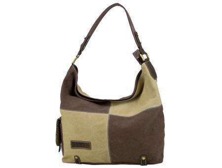 Sunsa beige braune Schultertasche Handtasche Canvas Leder