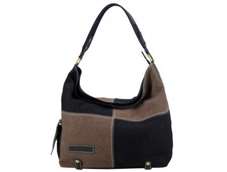 Sunsa braun schwarze Schultertasche Handtasche Canvas Leder