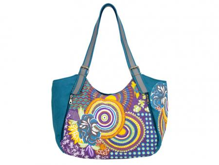 Sunsa petrole Schultertasche Handtasche Canvas Patchwork