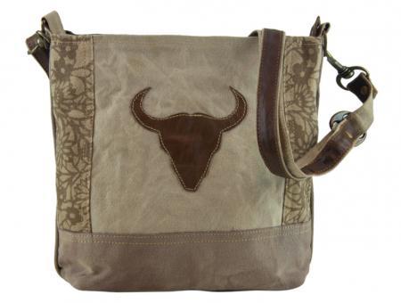 Sunsa Vintage Tasche Umhängetasche Schultertasche aus Canvas mit Leder