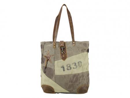 Sunsa Vintage Tasche Schultertasche  Shopper aus Canvas mit Leder