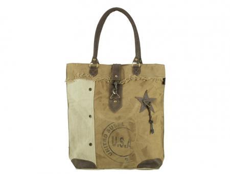 Sunsa Vintage Tasche Schultertasche  Shopper aus Canvas mit Leder große Handtasche