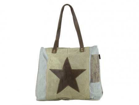 Sunsa Vintage Tasche Schultertasche  Shopper aus Canvas mit Leder Weekender Stern große Handtasche