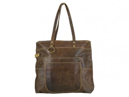 Sunsa Vintage Leder Tasche Schultertasche Handtasche Shopper aus Canvas mit Leder