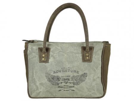 Sunsa Vintage Tasche Handtasche aus Canvas mit Leder