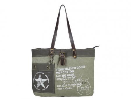 Sunsa Vintage Tasche Shopper Schultertasche aus Canvas mit  Leder