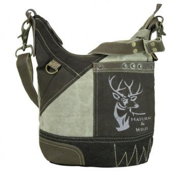 Sunsa Vintage Tasche Hobo Schultertasche Umhängetasche aus Canvas mit Leder