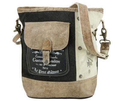 Sunsa Vintage Tasche Schultertasche Umhängetasche aus Canvas mit Leder