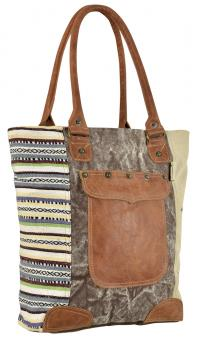 Sunsa Canvas Tasche Shopper bunt gemustert Handtasche Leder Badetasche