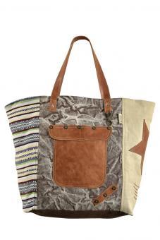 Sunsa Canvas Tasche Shopper bunt gemustert Handtasche große Badetasche