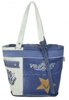 Sunsa Canvas Tasche Umhängetasche bestickt Jeans Shopper Vintage Style
