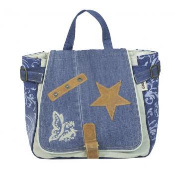 Sunsa Canvas Tasche Rucksack bestickt Jeans Backbag Vintage Style