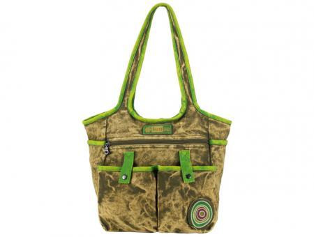 Sunsa Handtasche stone washed Canvas grün Lederdeko Schultertasche