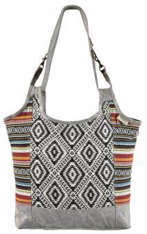 Sunsa Canvas Tasche stonewashed Shopper Weekender Handtasche bunte Hobbo