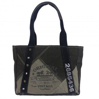 Sunsa Canvas Tasche Handtasche stone washed Shopper grau Schultertasche