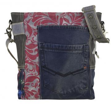Sunsa Tasche, Umhängetasche aus Canvas & Recycelter Jeans