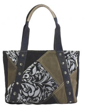 Sunsa Canvas Tasche Handtasche braun Shopper groß Schultertasche Badetasche