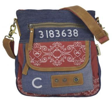 Sunsa Damen Canvas Umhängetasche/ Crossbody, Tasche aus rote Canvas & recycelter Jeans