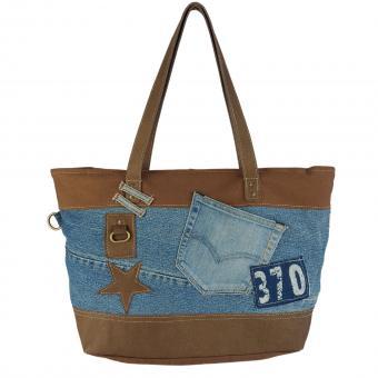 Sunsa Umhängetasche aus rote Canvas & recycelter Jeans. Nachhaltige Crossbody Bag