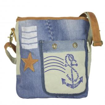Sunsa Tasche, Umhängetasche aus Canvas & recycelter Jeans, Maritim-Motiv
