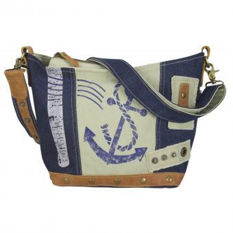 Sunsa kleine Damen Canvas Tasche braun Umhängetasche stone washed jeans Schultertasche Maritim blau