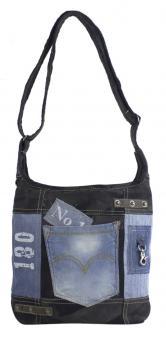 Sunsa Damen Canvas Hobotasche/ Umhängetasche . Crossbody aus Recycelter Jeans & schwarze Canvas