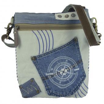 Sunsa Damen Tasche, Nachhaltig Umhängetasche aus recycelter Jeans & Canvas. Maritim-Motiv
