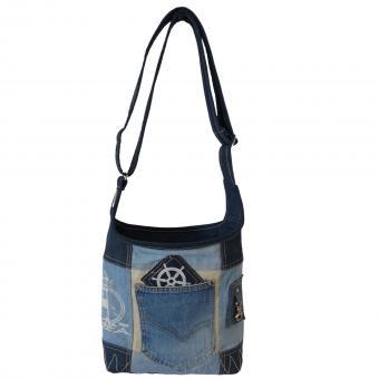 Sunsa Hobo Tasche aus recycelter Jeans & Canvas. Nachhaltige Canvastasche mit verstellbarem Henkel