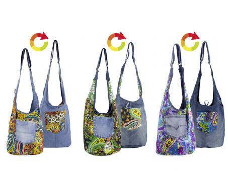 Sunsa Wende Hobo aus Cotton & recycelter Jeans, 3 Farben sortiert