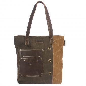Sunsa Damen Canvas Tasche Handtasche Schultertasche Shopper braun