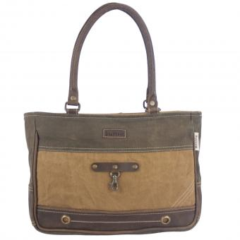 Sunsa Canvas Tasche Handtasche Shopper braun Schultertasche