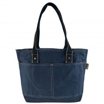 Domelo Damen gewachste Canvas Shopper. Dunkelblaue wasserabweisende Handtasche
