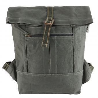 Domelo gewachste Canvas Rucksack. Khaki Grüne wasserabweisende Unisex Backpack
