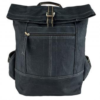 Domelo gewachste Canvas Rucksack. Schwarze wasserabweisende Unisex Backpack