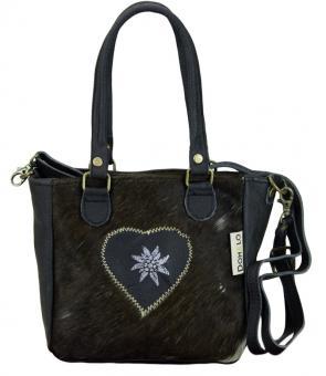 Domelo Tracht Vintage Tasche Handtasche mit Leder und Fell