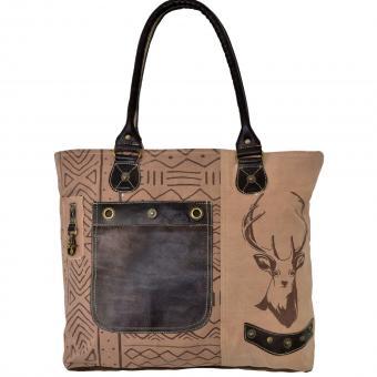 Domelo Tracht Shopper Tasche Handtasche Badetasche bedruckt Leder beige dunkelbraun