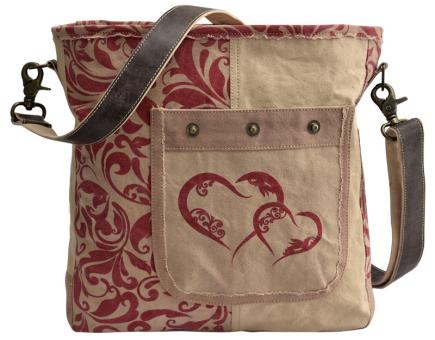 Domelo Tracht Tasche Schultertasche Umhängetasche bedruckt Leder beige rot
