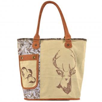Domelo Tracht Handtasche Shopper Badetasche bedruckt Leder braun beige